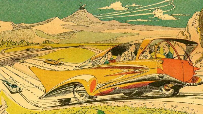 1960s concept of driverless cars (Arthur Radebaugh via Gizmodo)